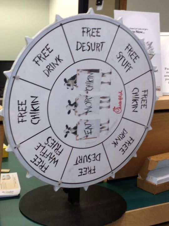 The Chick-fil-a prize wheel at our East Norriton's Customer Appreciation event on November 15th.