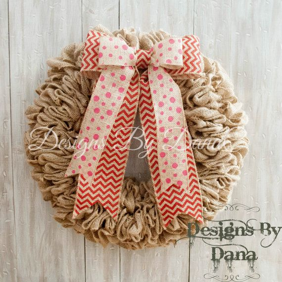 Valentines Burlap Wreath For Front Door by DesignsByDanaC on Etsy