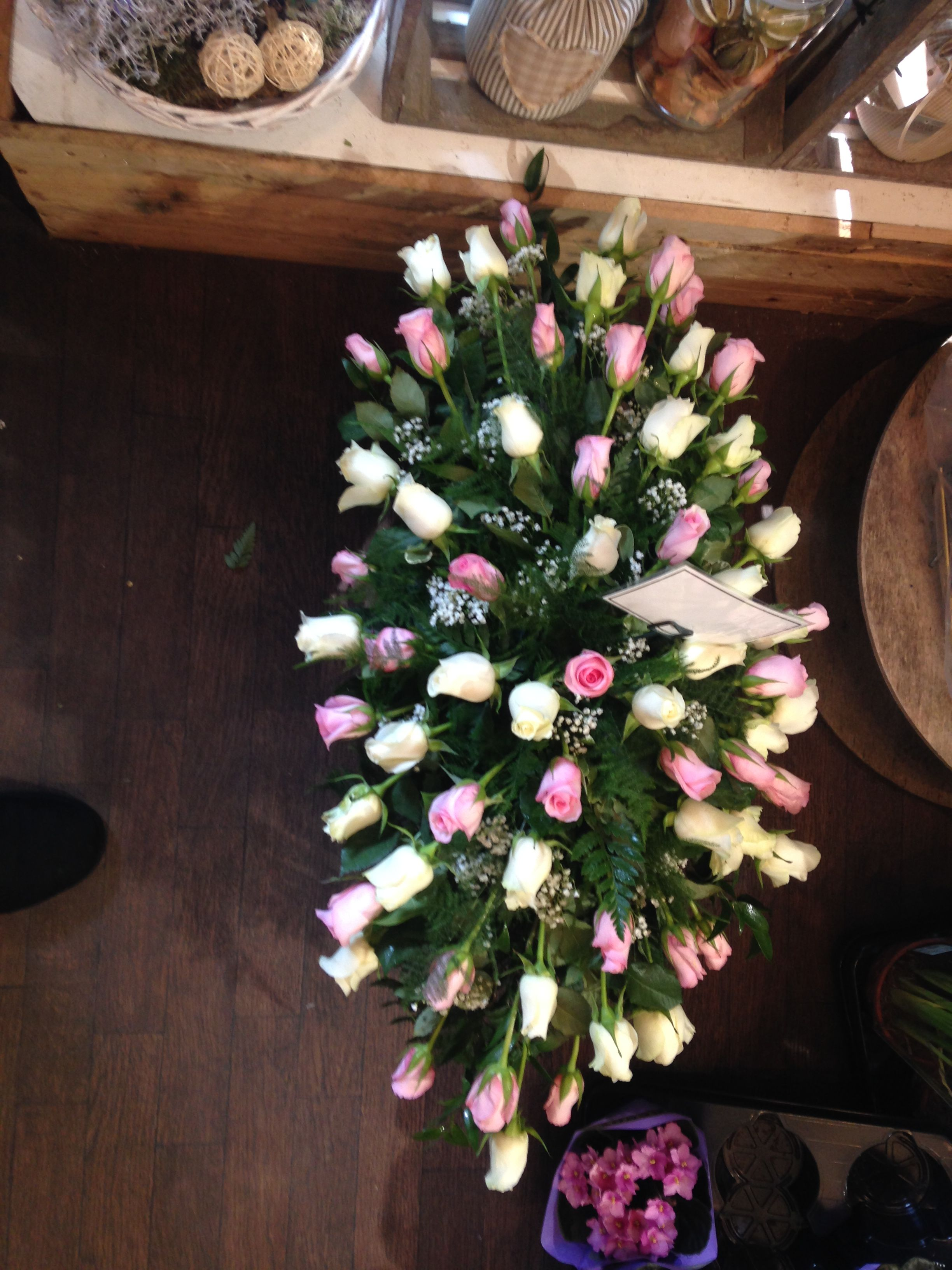 Double Ended Funeral Spray Pastel Pink Roses Leeds Funeral