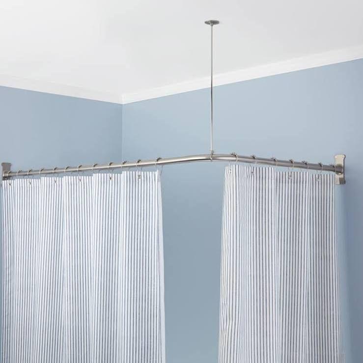 Signature Hardware 913110 72x48 72 X 48 Corner Shower Curtain