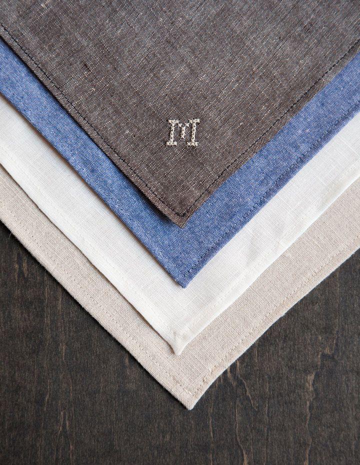 Handkerchief Pocket Square Custom Cross Stitch Monogram- natural linen. $44.00, via Etsy. (Could DIY this so easily.)