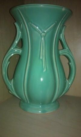 Mccoy Vase Vintage 1940s Mccoy Pottery Usa Large Mint Green By