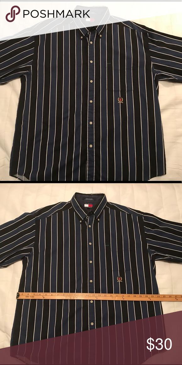 6941d561 Men's Tommy Hilfiger button down long sleeve shirt Men's Tommy Hilfiger  black and blue striped button down long sleeve shirt with pocket. Size large .