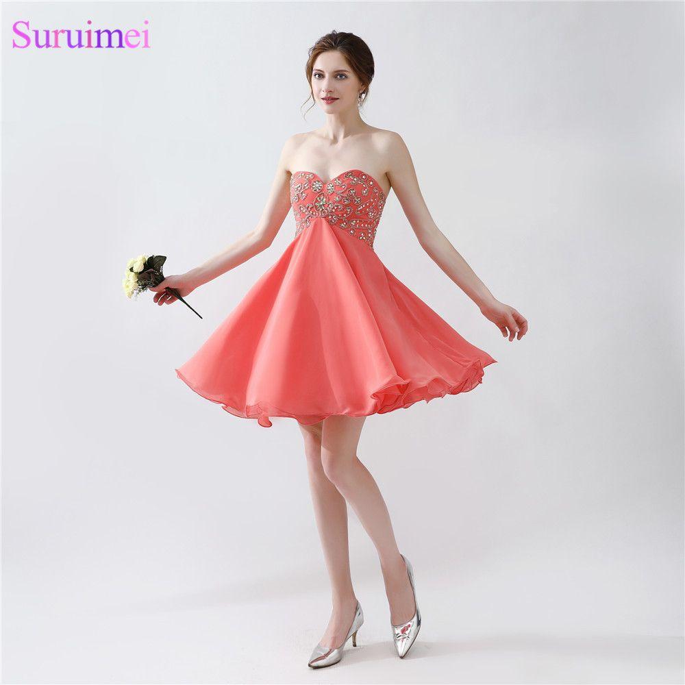 Click to buy ucuc short coral homecoming dresses chiffon beaded corset