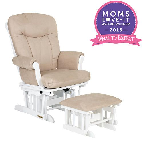 Surprising Shermag Glider Rocker And Ottoman White Pearl Fabric Short Links Chair Design For Home Short Linksinfo
