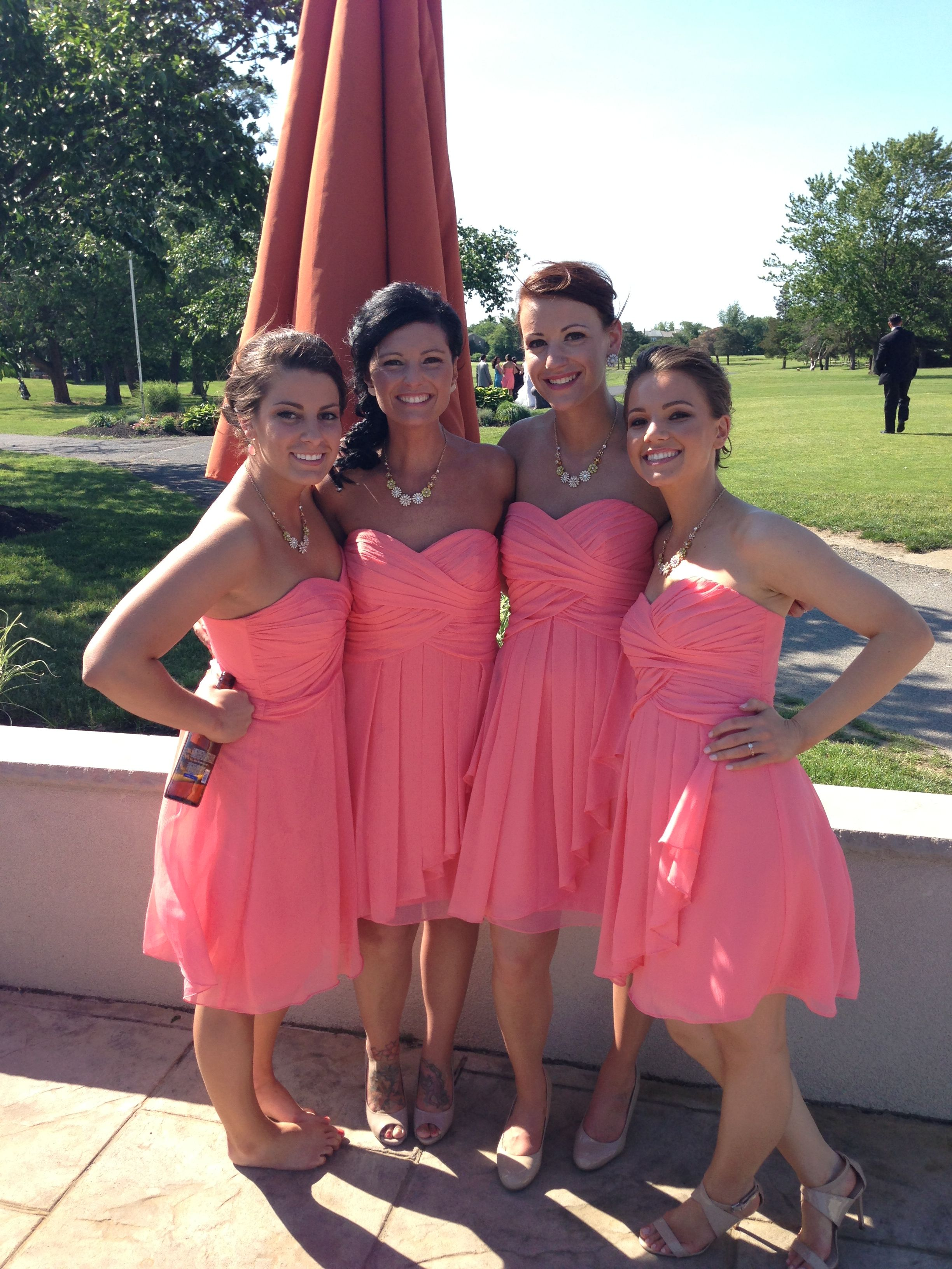 Casual photo at reception coral bridesmaids dresses how to