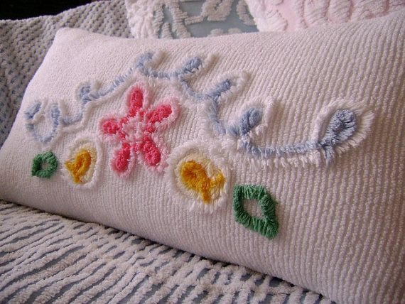 vintage chenille bolster pillow 28 x 14 pink floral and powder blue and white curly q 39 s. Black Bedroom Furniture Sets. Home Design Ideas