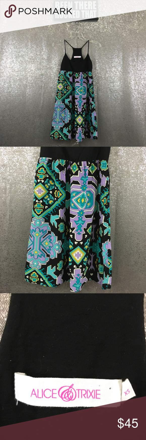 Alice and Trixie silk Aztec strappy tunic top May also work as a dress for some people, no flaws.  NO TRADES, NO HOLDS, NO LOWBALLERS, NO NONSENSE alice & trixie Tops Tunics