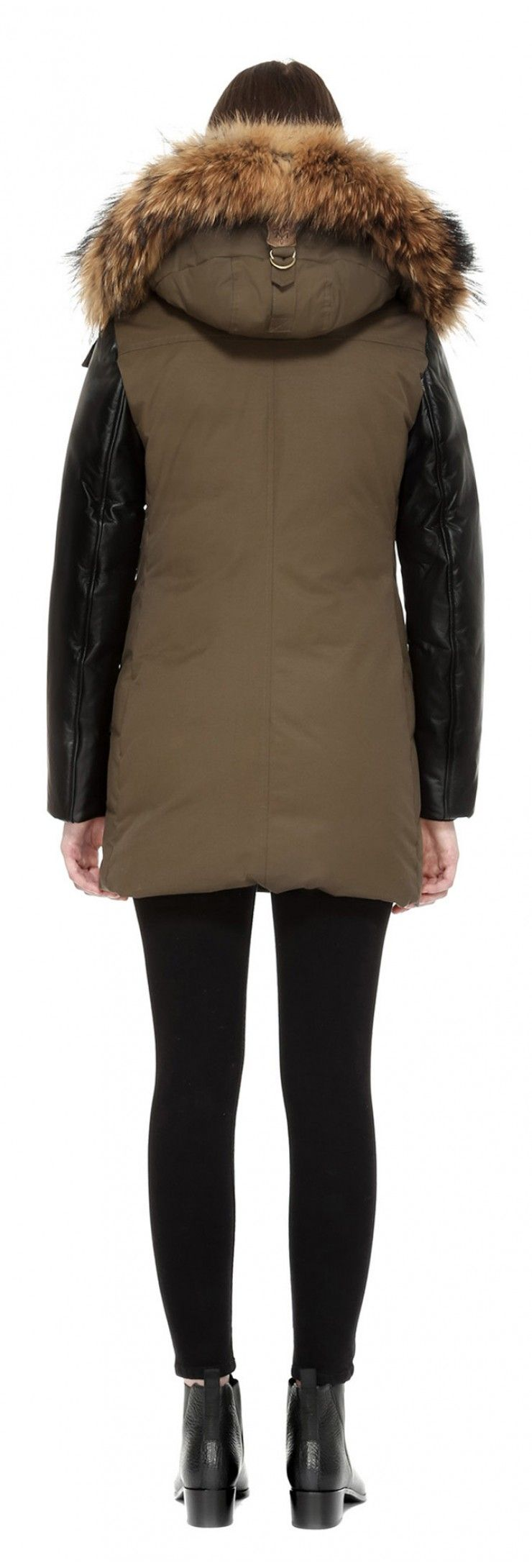 CYNTHIA-F5 ARMY LUX DOWN PARKA WITH LEATHER SLEEVES