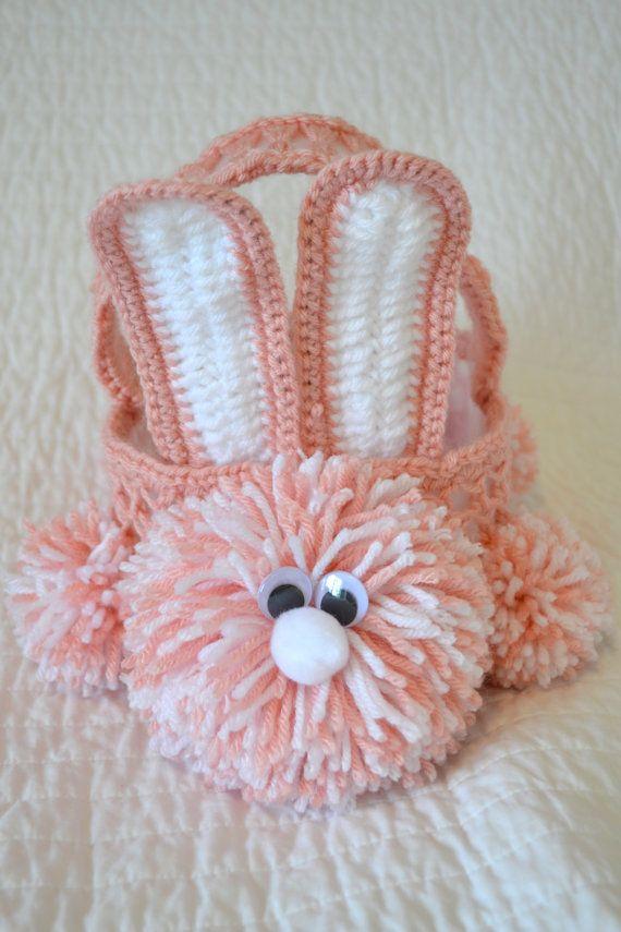 Crochet Easter Bunny Basket Pattern | Patrón de ganchillo, Cestas y ...