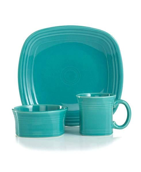 Fiestaware Three Piece Square Place Setting in Turquoise  sc 1 st  Pinterest & Fiestaware Three Piece Square Place Setting in Turquoise   Squares ...