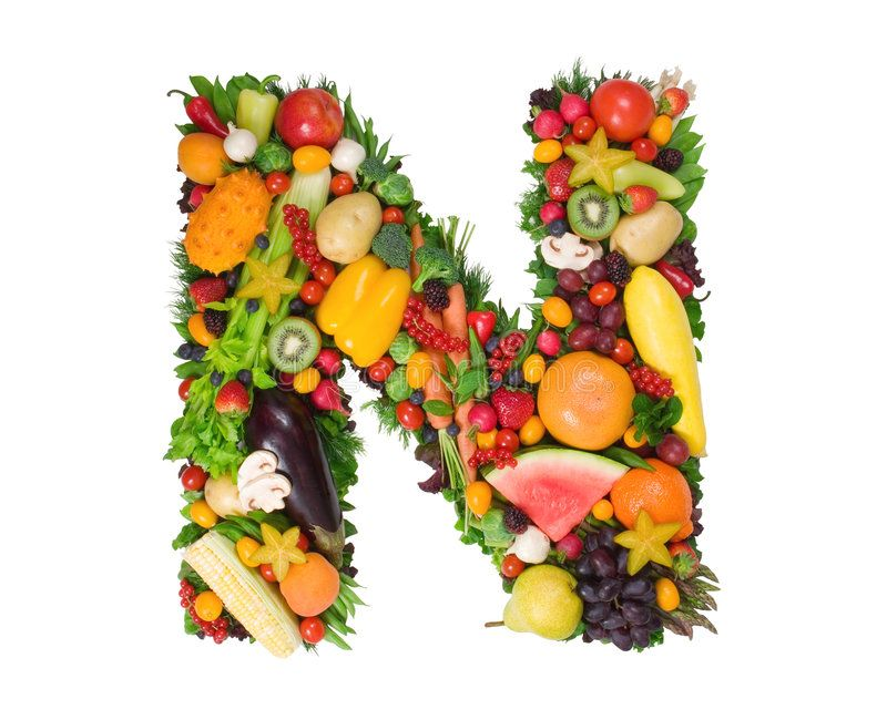 Alphabet of Health N. Letter made of fresh fruits and