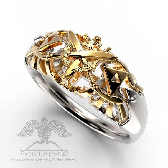 legend of zelda swords hyrule crest wedding band unisex custommade handmade made to order - Zelda Wedding Ring