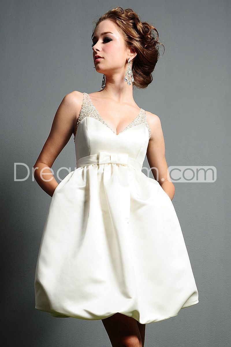 Mini white wedding dress  Gorgeous ShortMinilength Vneck Pockets u Beaded Wedding Dresses