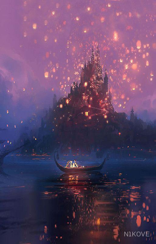 Disney Tangled Castle Boat By N1k0ve Tangled Wallpaper Disney Wallpaper Disney Background