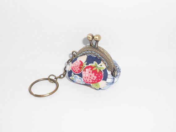 Blue  strawberry beige gingham japan style mini by Elephant9693, $11.50