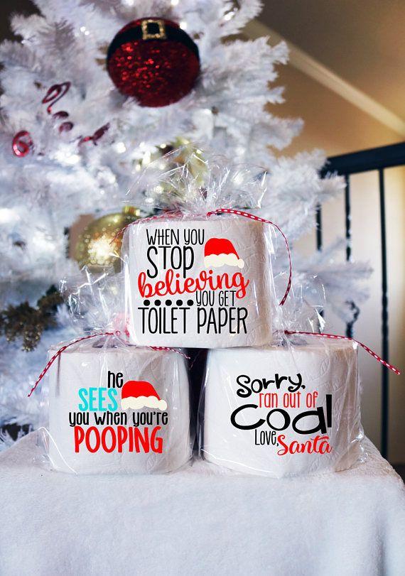 Funny Christmas Toilet Paper Gag Gift White Elephant Gift Christmas Toilet Paper Christmas Bathroom Christmas Humor