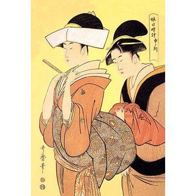 "Buyenlarge The Hour of the Monkey by Kitigawa Utamaro Painting Print Size: 42"" H x 28"" W x 1.5"" D"