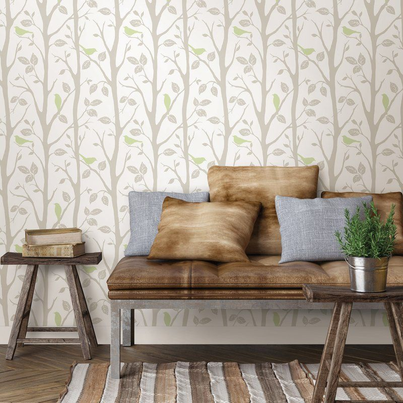Grey And Green Sitting In A Tree Peel And Stick Wallpaper Reviews Joss Main Home Wallpaper Home Decor Peel And Stick Wallpaper