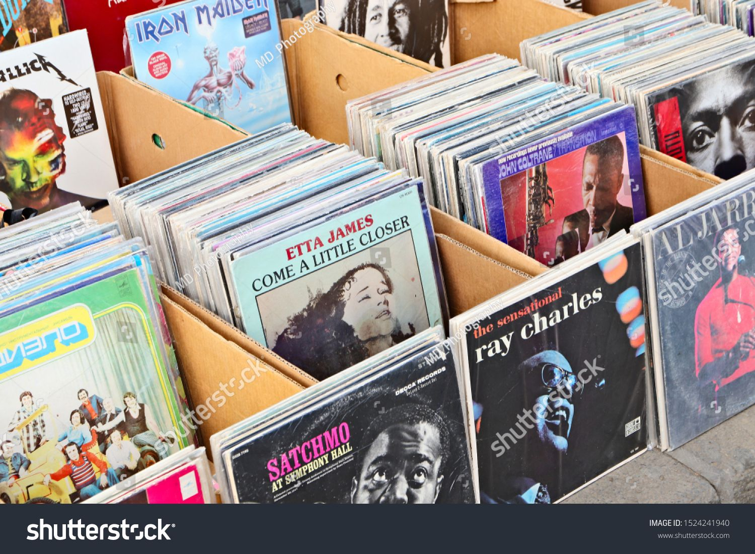Tbilisi Georgia  September 23 2019 A wide selection of vinyl music records being sold at the Dry Bridge flea market