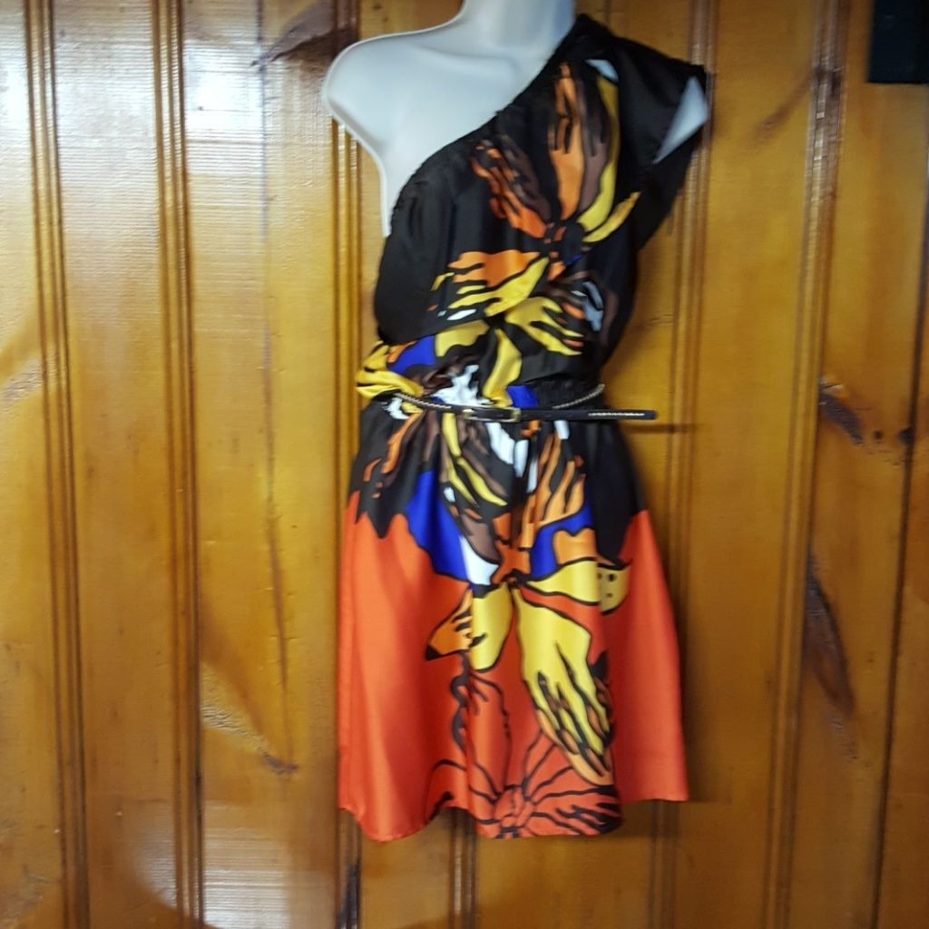 Baby Phat Multi-Colored Print One-Shoulder Dress