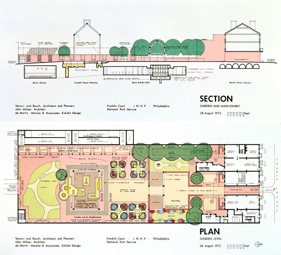 Section + Plan : Ghost House, Franklin Court, Philadelphia