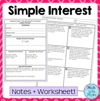 Percents Simple Interest Notes And Worksheet Simple Interest Financial Literacy Worksheets Literacy Worksheets
