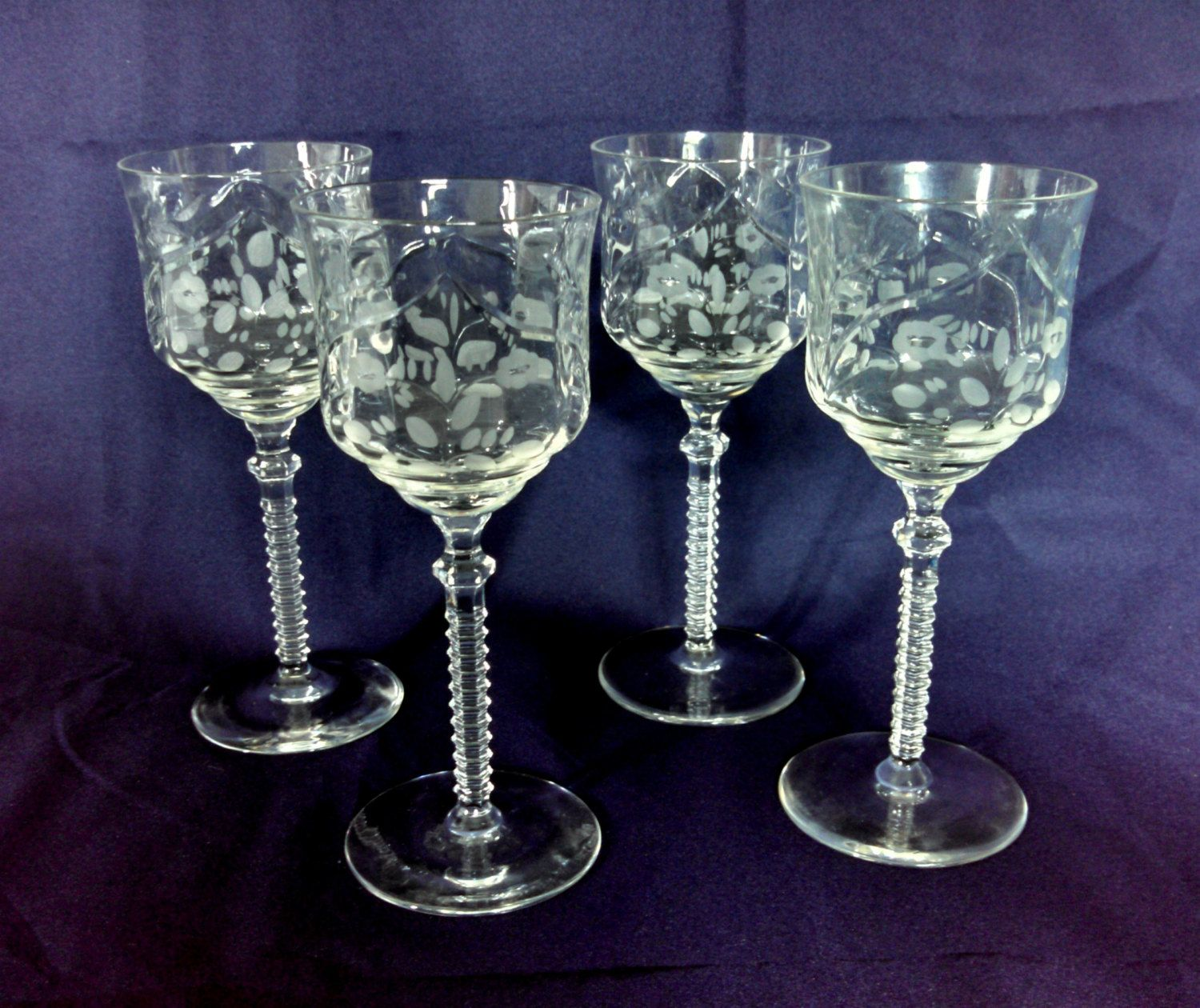 Crystal Stemware Wine Glasses Reserved For Lisa Vintage Crystal Claret Wine Glasses By