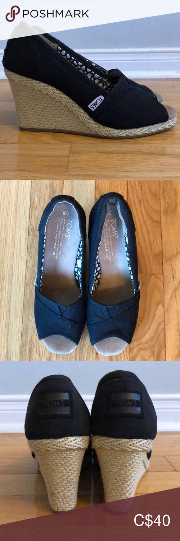 TOMS wedges NWT #tomwedges TOMS wedges Never worn, brand new. TOMS wedges. Toms Shoes Wedges #tomwedges