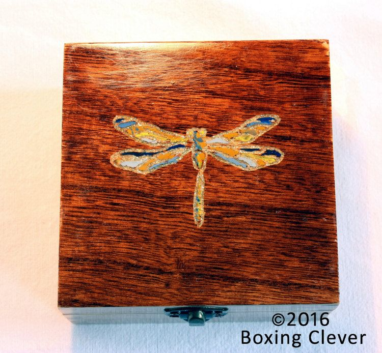 Dragonfly Jewellery BoxWood Engraved Hand Painted Glitter Stained