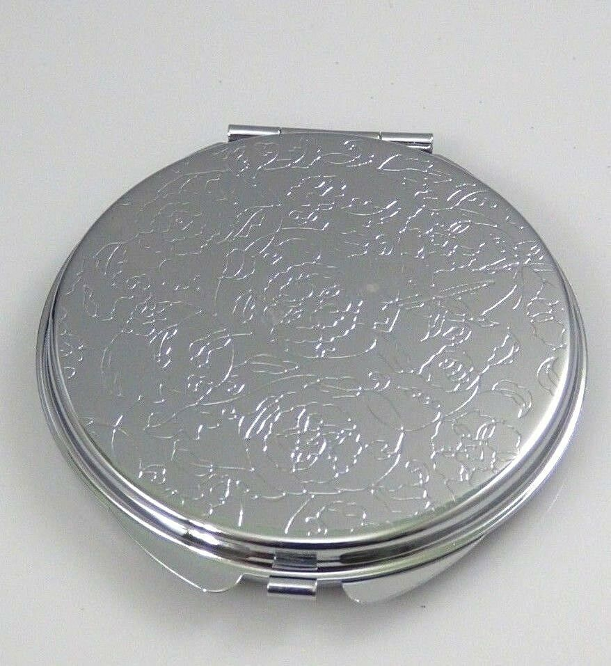 Embossed Flower Compact Makeup Mirror Silver Tone Two
