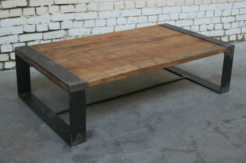 industrielle atelier massif et metal table bois basse SzqGMVpU