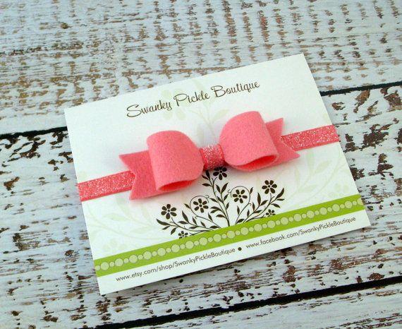 Felt Bow Headband  Carnation Pink Bow on by SwankyPickleBoutique
