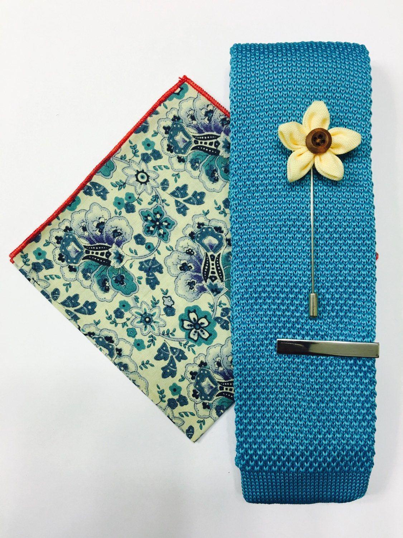 Teal knit necktie + pocket Square + lapel pin + Tie Bar combo set ...