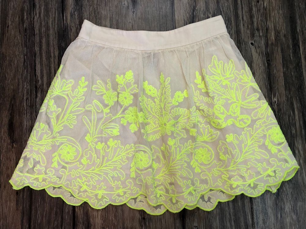 cf3db41bb9 Vanessa Virginia Skirt Anthropologie Embroidered Neon Lace Size 4 Womens  64H | eBay