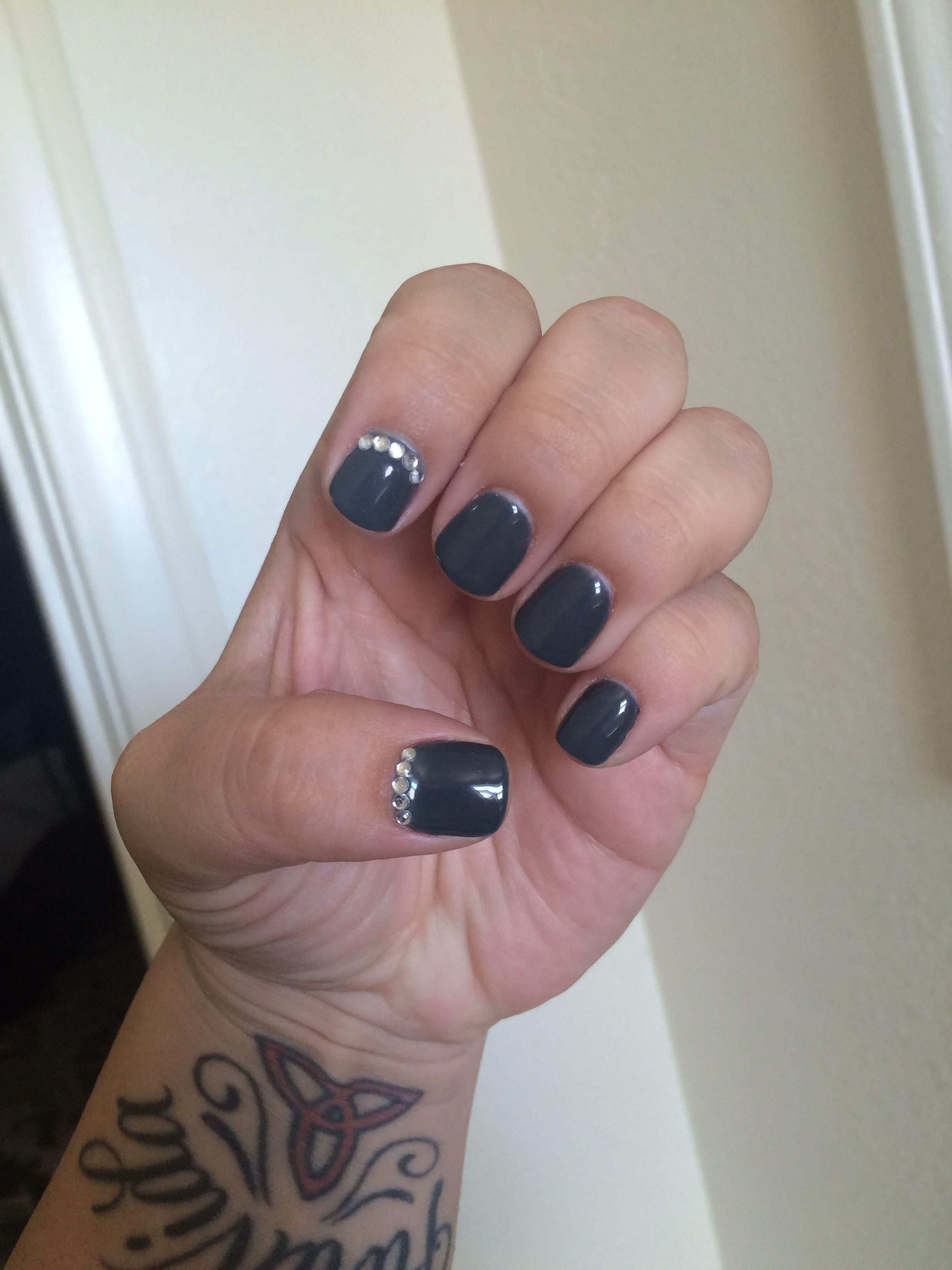 Dark grey design on natural short nails. Short nails don\'t have to ...
