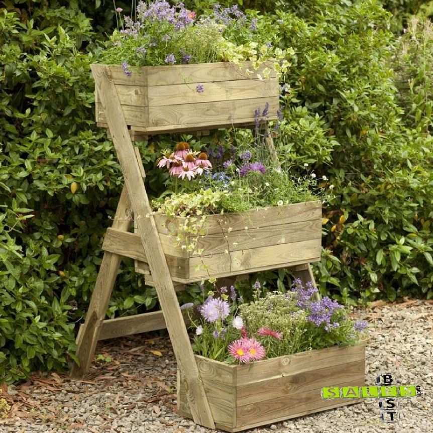 Wooden Cascade Planter 3 Tier Garden Plants Patio Flower Pressure Treated Pots Wooden Garden Planters Garden Planter Boxes Vegetable Beds Raised