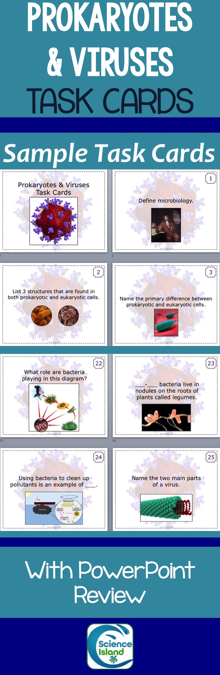 Prokaryotes And Viruses Task Cards With Powerpoint Review Prokaryotic Cells Are An Amazing Cooperative Learning Activity For Secondary Science Students This Set Covers