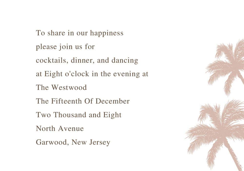 beach theme coconut tree destination wedding invitation cards ...