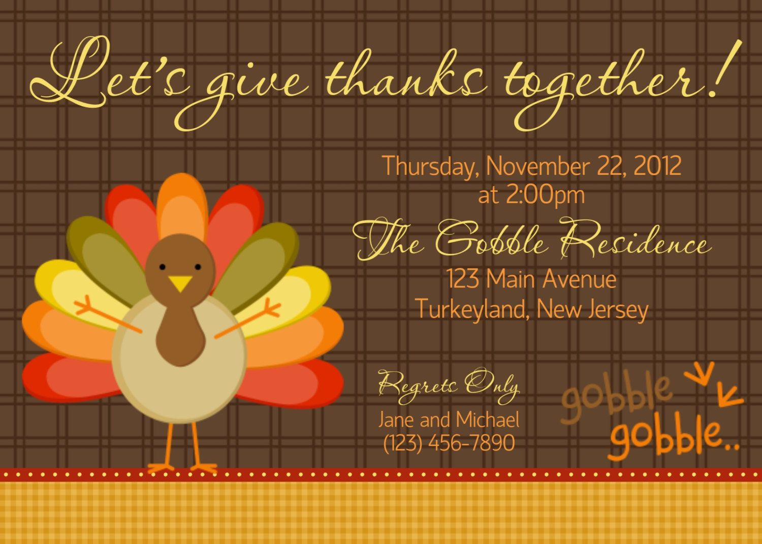 Gobble Gobble Thanksgiving Invitation  Personalized Custom
