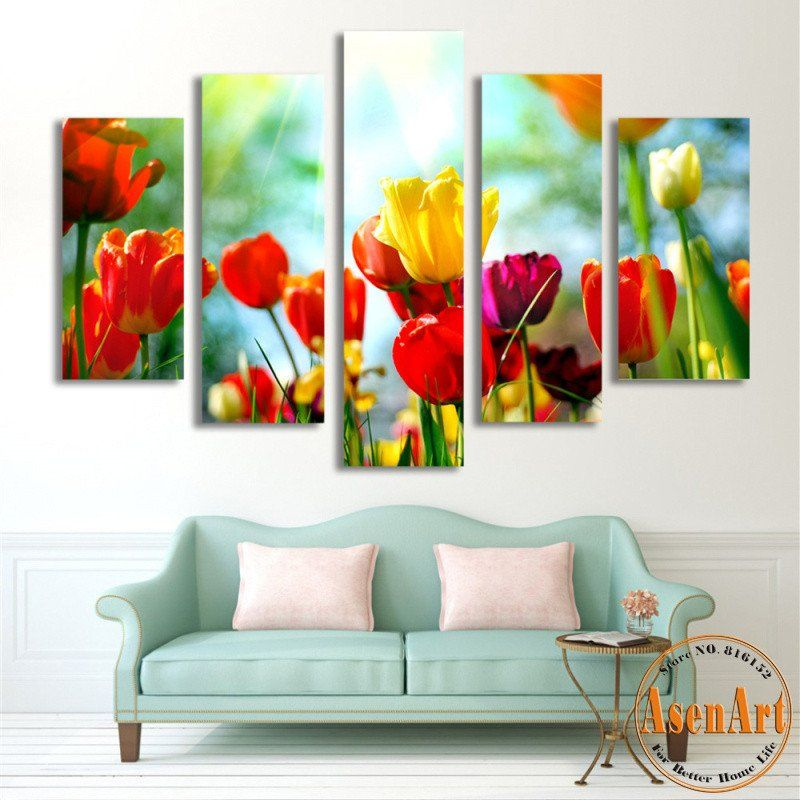 5 Panel Wall Art Tulip Paintings Canvas Print Flower Pictures Art