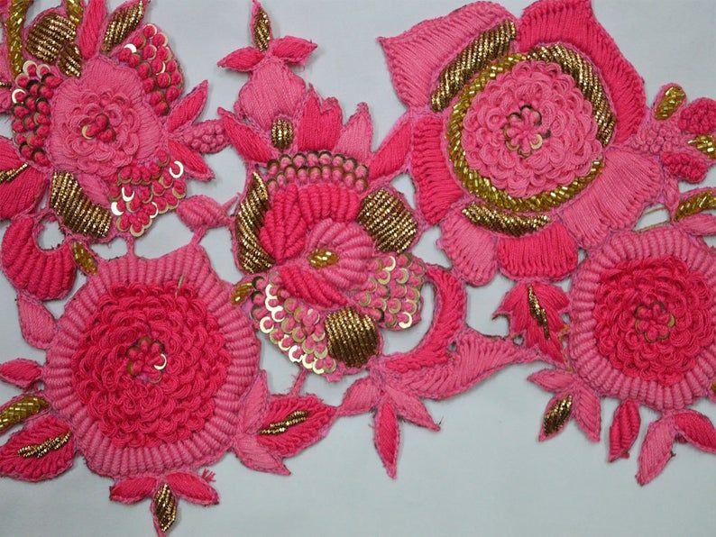 5 Pcs Latest Indian Round Pink Sequence Rhinestone Craft  Sari Blouse Applique