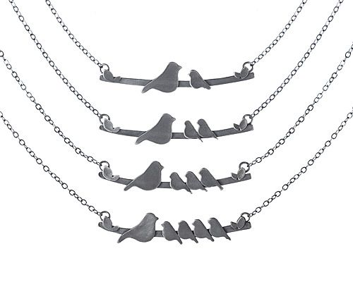 mother/babies bird necklace. So sweet