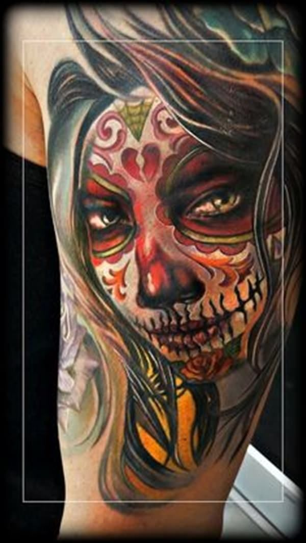 Colorful Day Of The Dead Tattoos Go Great With Heels And Certainly Day Of The Dead Girl Tattoo Day Of The Dead Girl Tattoos