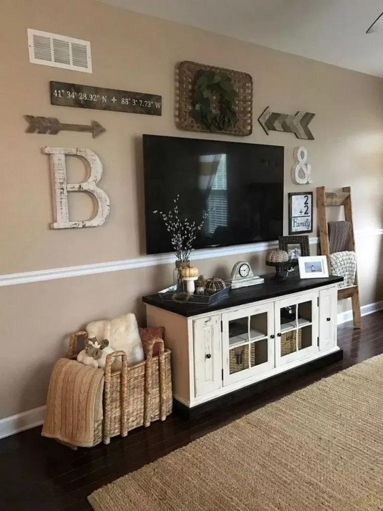 43 Best Farmhouse Living Room Tv Wall Decor Ideas 17 In 2020