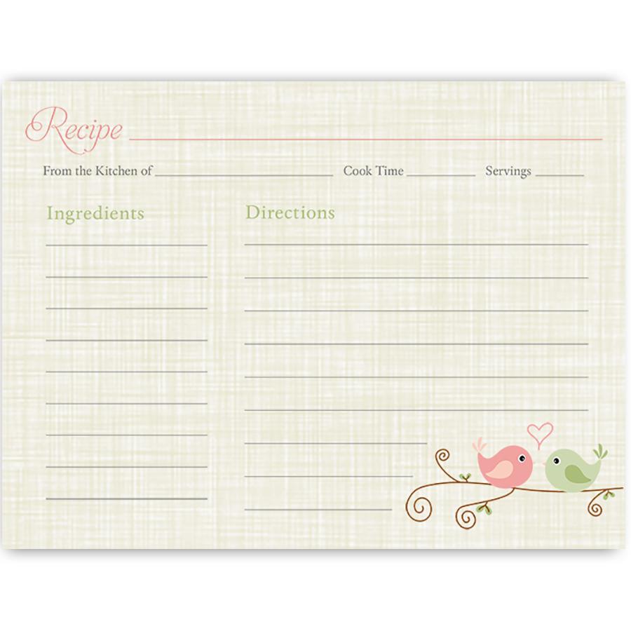 Love Birds Recipe Card | Recetario, Imprimibles y Etiquetas