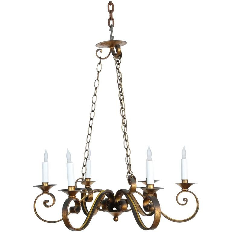 1970s Six Arm Golden Wrought Iron Chandelier With Canopy And Chain