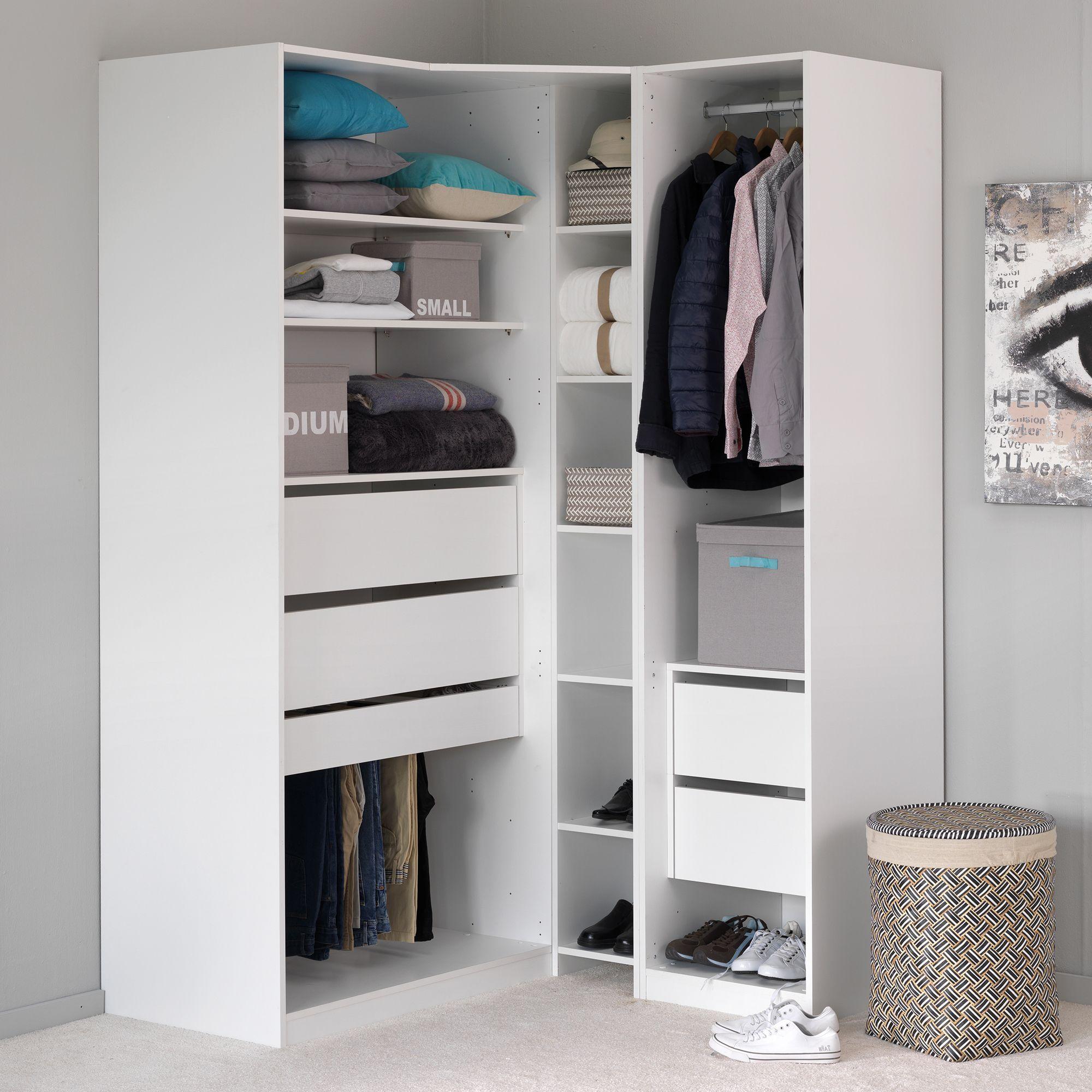 Armoire de rangement en angle Blanc écorce - Méo - Les armoires à ...