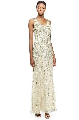 Aidan Mattox Sequin Tulle V-neck Sleeveless Long Evening Gown Dress ...