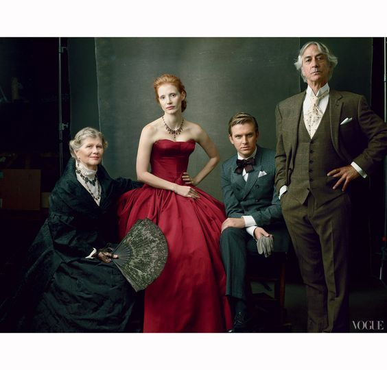 """Jessica Chastain Stars in Broadway's The Heiress Judith Ivey, Jessica Chastain, Dan Stevens & David Strathaim """"The Marriage Plot"""" photo by Annie Leibovitz for US Vogue November 2012"""